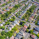 Aerial drone photo of a typical British housing estate located in the town of Bournemouth