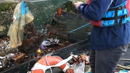 Rubbish fished up inMillwall Docks that could have ended up in theThames and out to sea.