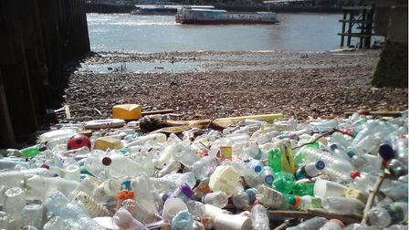 Plastic washed up in bend ofthe Thames at the Isle of Dogs