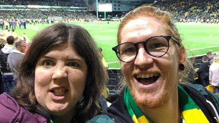 Anna Say, pictured with her brother xxx at Carrow Road before she was diagnosed with cancer