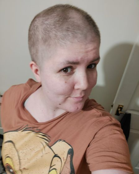 Anna with her head shaven as she went through four months ofchemotherapy