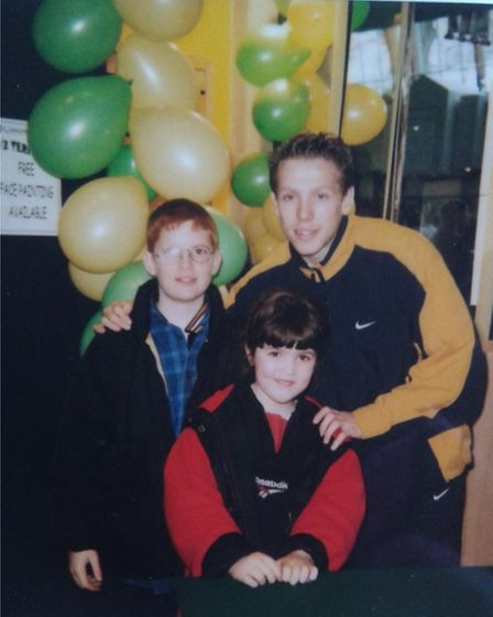Anna and her brother with former Norwich striker Craig Bellamy more than 20 years ago
