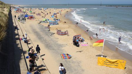 Sea Palling beach where the RNLI lifeguards are back on duty. Picture: DENISE BRADLEY
