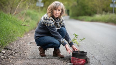 Cllr Wendy Turner measuring the depth on the potholes on Fishwick Corner. Picture: Sarah Lucy Brown