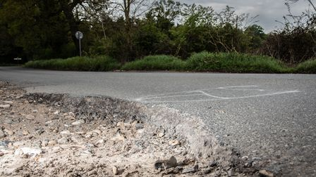 The potholes on Fishwick Corner towards Thurston are now so bad that people have resorted to inappro