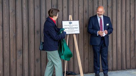 Unveiling the commemorative plaque,HRH The Princess Royal andNigel Farthing, Suffolk Wildlife Trust chair
