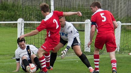 Alex Vincent unable to gain control for Swaffham in their 2-2 draw with Haverhill Rovers at Shoemake