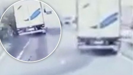 The moment a lorry driver lost control on the motorway, colliding with a central reservation, in a booze-fuelled crash
