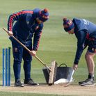 Groundstaff prepare the wicket before anLV= Insurance County Championship match at the Cloudfm County Ground, Chelmsford