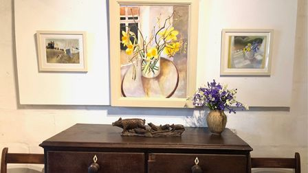 Tessa Newcomb's Spring Collection 'A Bit of Colour welcomes visitors to the barns at White House Farm.