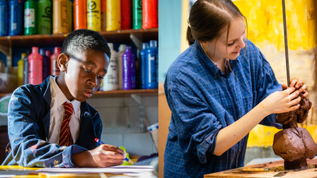 A montage: on the left, a boy with a coloured pencil; on the right, a sculpting girl