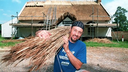 Master Thatcher Alan Wotherspoon thatching Filby Village Club in 1998