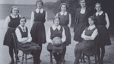 Joan back row second from the left with her netball team