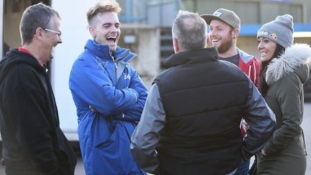 Lewis Kerr laughing in the pits. Picture: Ian Burt