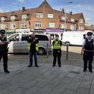 Met Police and Barking and Dagenham Council officers during patrols atHeathway in Dagenham.