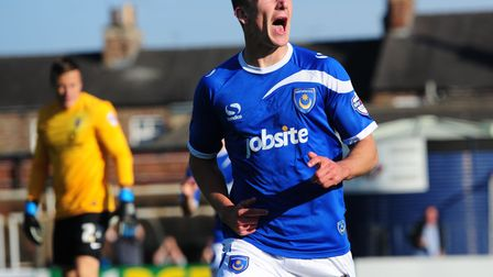 Portsmouth's Jed Wallace celebrates after scoring a goal during the Sky Bet League Two match at Boot