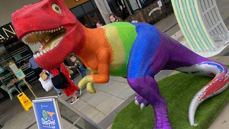 ThePrideasaurus after it was unveiled at Chantry Place in Norwich
