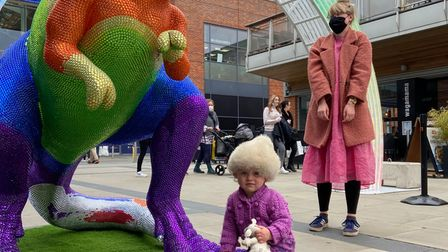 A youngster enjoying thePrideasaurus moments after it was revealed at Chantry Place in Norwich