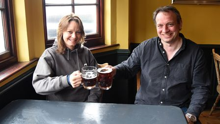 Vanessa and Owner Dan. The Grayhound pub in Ipswich is preparing to re-open on Monday Picture: CHAR