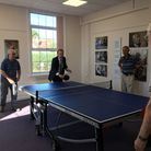 Matt Hancock played table tennis during his visit to the Budleigh Hub. Picture: Peter Bowler