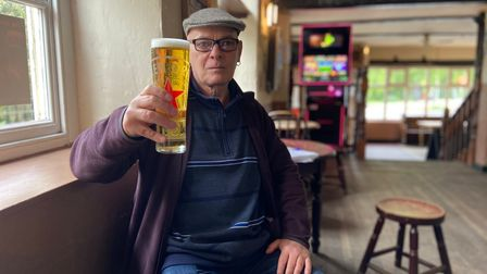 Dave Spoors enjoying a pint at The Mischief in Norwich