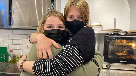 Gemma Gladwelltook the opportunity to hug her colleague Hannah Foster