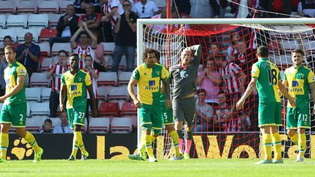 John Ruddy can not hide his frustration after a late concession at Sunderland.