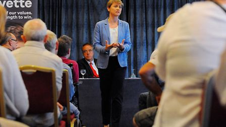 Labour leadership condender Yvette Cooper in Norwich addressing members of the Norwich South branch.