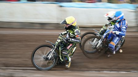 Witches skipper Danny King leadws the way from teammate Jason Crump and Kings Lynns Craig in the ope