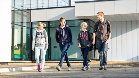 Students arriving at the new Wisbech CWA campus. Picture Paul Tibbs