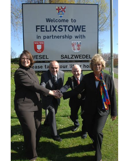 Felixstowe's town sign, shown here during its35th anniversary of twinning with Wesel and 15th with Salzwedel