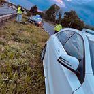 The Mazda driver was forced to swerve in a bid to avoid the hurtling Peugeot, before crashing into the central reservation