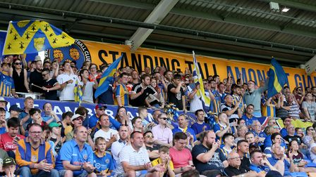 Fans in the safe standing area during the Sky Bet League One match at Montgomery Waters Meadow, Shre