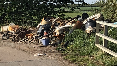 Walkers face this massive fly-tipped pile of waste in Chatteris