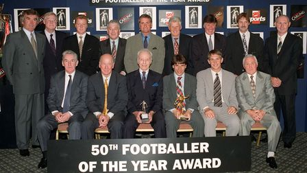 Past and present...Former recipients of the Fottballer of the Year award join this year's winner, Gi