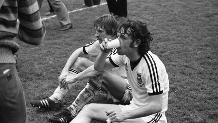 John Wark and Frans Thijssen pictured during the Blues 1-0 defeat to Man City at Villa Park in the s