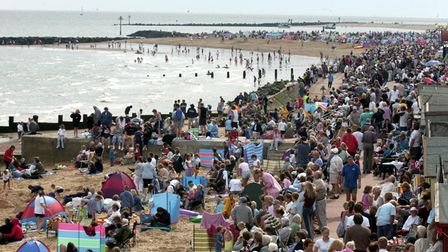 Clacton Air Show with the Red Arrows watched by thousands from the beach and promenade in 2002