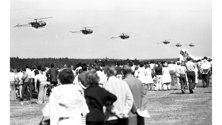 Helicopters in perfect synchronisation at Woodbridge Air Show in 1976