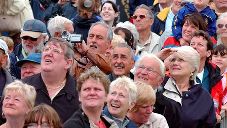 Members of the public look to the skies duringClacton Airshow in 2004