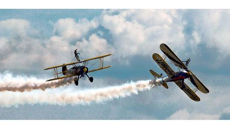 Wingalkers take to the skies over Clacton during the annual air show in 2004
