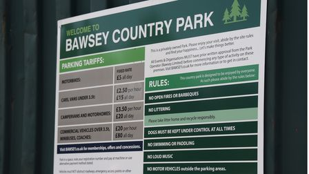 The warning signs which are around the carpark and both lakes at Bawsey Pits Country Park. Picture: