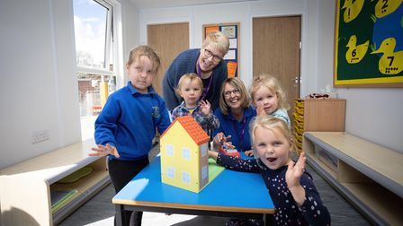 Dickleburgh Pre-School headteacher Moira Croskell and manager Sue Brown with pupils.