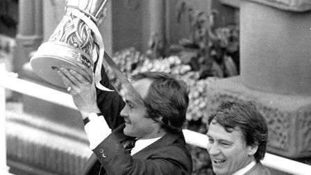 Skipper Mick Mills and manager Sir Bobby Robson with the UEFA Cup, which the club won in 1980-81. Ro