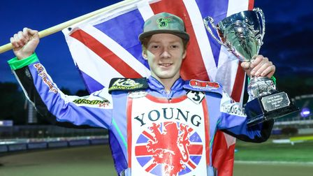 British Under 19 Champion Dan Bewley pictured with his trophy after the meeting at Foxhall Stadium.