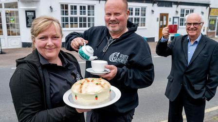 White Horse Corton landlords Beverley Cooper and Chris Nilsson with Pub is The Hub regional adviser Terry Stork
