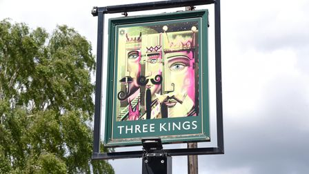 The pub sign of The Three Kings at Fornham in Suffolk