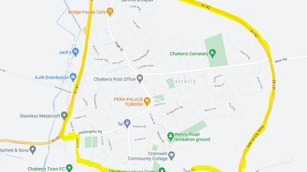 A map of the area of Chatteris that iscovered by the dispersal order, which is in placeuntil 3am on Friday (May 21).
