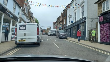 seven vehicles parking on double yellow lines' atForehillin Ely.