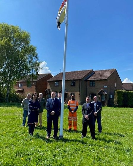 Wiggenhall St Germans Parish Council officially commissioned its village flagpole on Wednesday, May 19.