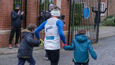 Ben Blowes was able to cross the finish line in Newmarket with his two sons
